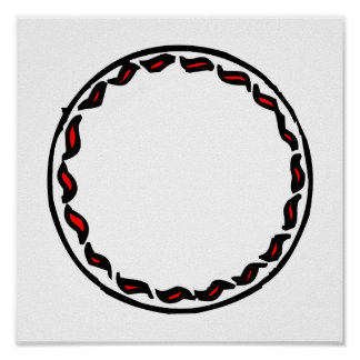 squiggle peppers round frame print