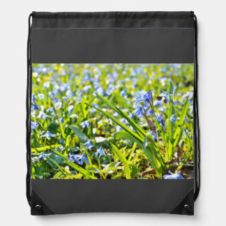 Squill Scilla Siberica In Siberia Drawstring Backpack