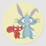 Squirell and Bunny Rabit Buddies Round Sticker
