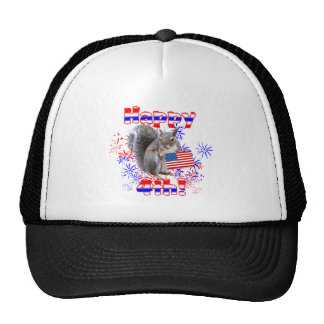 Squirrel 4th of July Mesh Hats