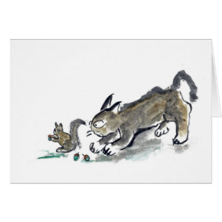 Squirrel and Cat Card