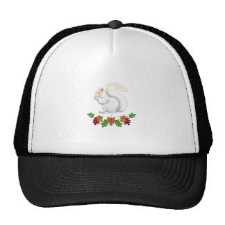 SQUIRREL AND FALL LEAVES MESH HATS