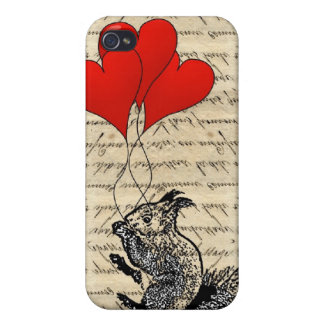 Squirrel and heart balloons case for iPhone 4