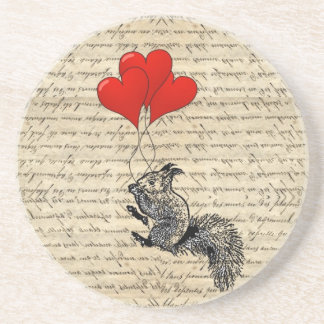 Squirrel and heart balloons coaster