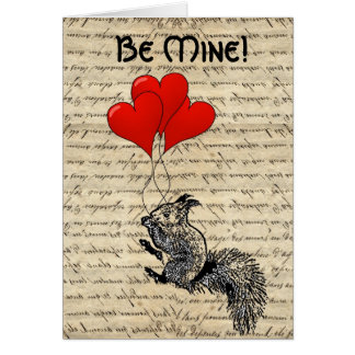 Squirrel and heart balloons greeting card