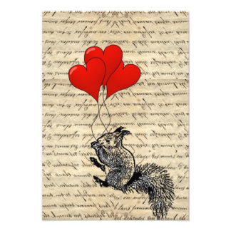 Squirrel and heart balloons announcements