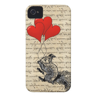 Squirrel and heart balloons iPhone 4 cover