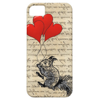 Squirrel and heart balloons iPhone 5 case