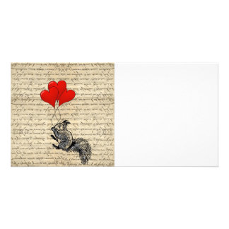 Squirrel and heart balloons photo cards