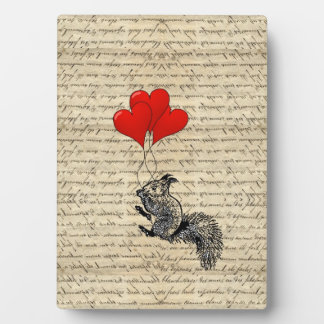 Squirrel and heart balloons plaque