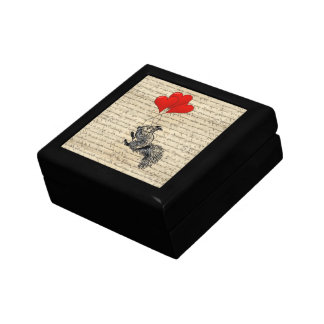 Squirrel and heart balloons small square gift box