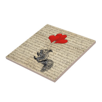 Squirrel and heart balloons tile