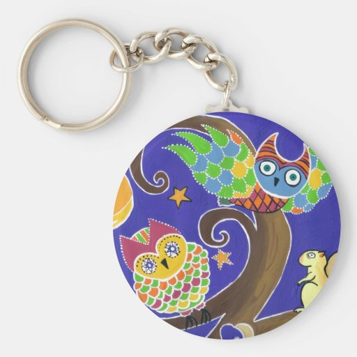 squirrel and owls basic round button key ring