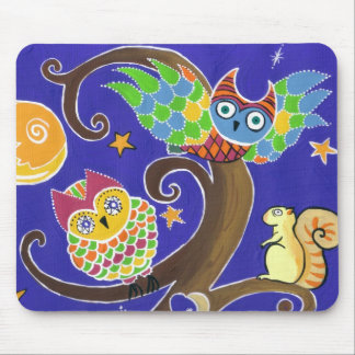 squirrel and owls mouse pads