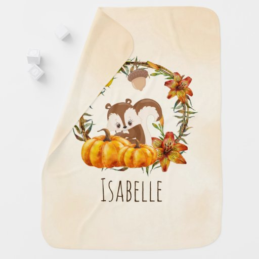 Squirrel and Pumpkins Rustic Wreath Baby Blanket