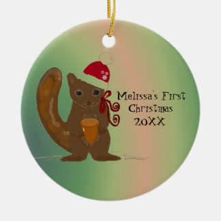 Squirrel Baby First Christmas Round Ceramic Decoration