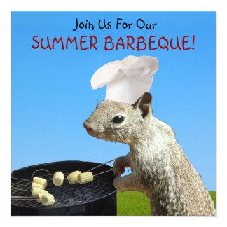 """Squirrel BBQ Invitations 5.25"""" Square Invitation Card"""