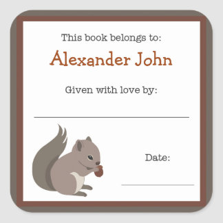 Squirrel book plate - Forest Animals bookplate Square Sticker