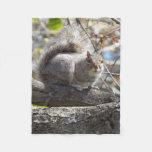 Squirrel branch fleece blanket