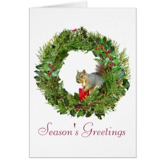 Squirrel Candle Wreath Card