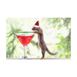 Squirrel Celebrating Christmas Canvas Prints