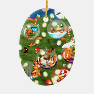 Squirrel Christmas Tree Ceramic Oval Decoration