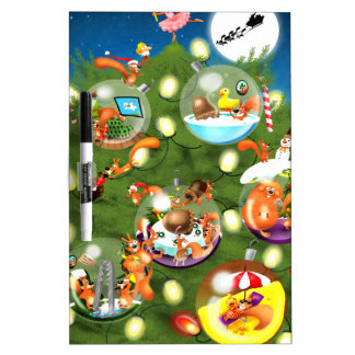 Squirrel Christmas Tree Dry Erase Board
