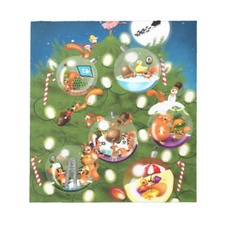 Squirrel Christmas Tree Notepad