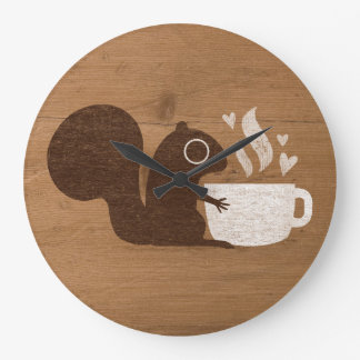 Squirrel Coffee Lover Large Clock