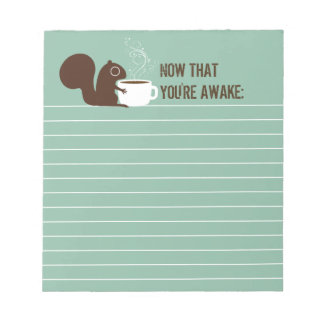 Squirrel Coffee Lover with Customizable Text Notepad