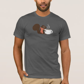 Squirrel Coffee Lover with Striped Scarf T-Shirt