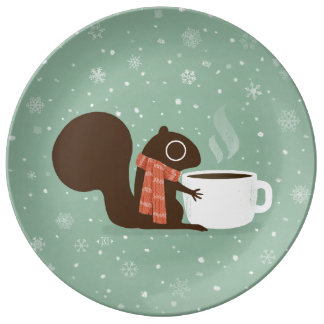 Squirrel Coffee Lover Woodland Winter Holiday Plate