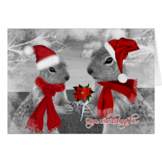 Squirrel Couple in Love | Christmas Romance Greeting Card