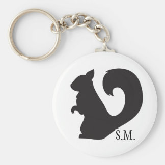 Squirrel critter woodland silhouette initials key ring