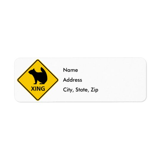 Squirrel Crossing Highway Sign Return Address Label