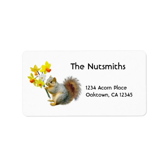 Squirrel Daffodils Address Labels