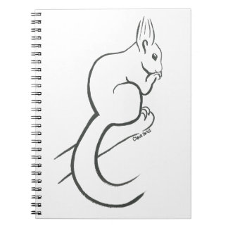 Squirrel doodle on notebook