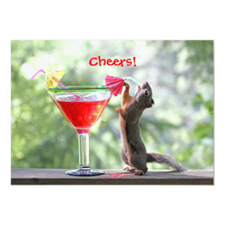 Squirrel Drinking a Cocktail at Happy Hour 13 Cm X 18 Cm Invitation Card