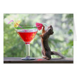 Squirrel Drinking a Cocktail at Happy Hour Card