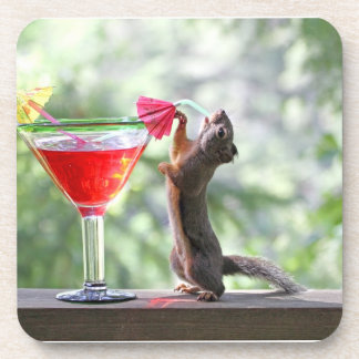 Squirrel Drinking a Cocktail at Happy Hour Drink Coasters