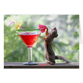 Squirrel Drinking a Cocktail at Happy Hour Greeting Card