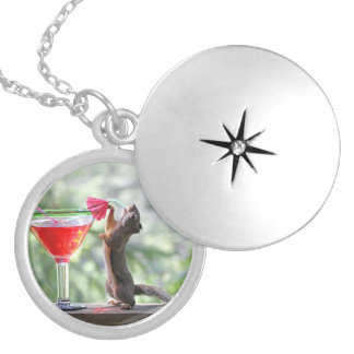 Squirrel Drinking a Cocktail at Happy Hour Locket Necklace