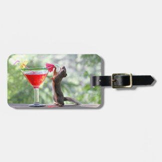 Squirrel Drinking a Cocktail at Happy Hour Luggage Tag