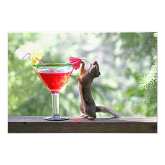 Squirrel Drinking a Cocktail at Happy Hour Photo