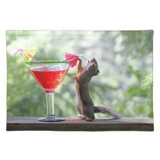Squirrel Drinking a Cocktail at Happy Hour Placemat