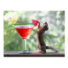 Squirrel Drinking a Cocktail at Happy Hour Postcard