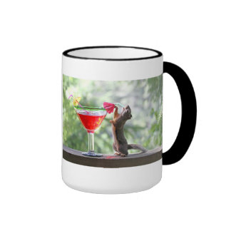 Squirrel Drinking a Cocktail at Happy Hour Ringer Mug