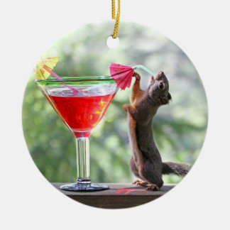 Squirrel Drinking a Cocktail at Happy Hour Round Ceramic Decoration