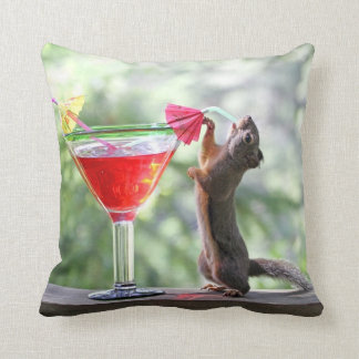 Squirrel Drinking a Cocktail at Happy Hour Throw Pillow