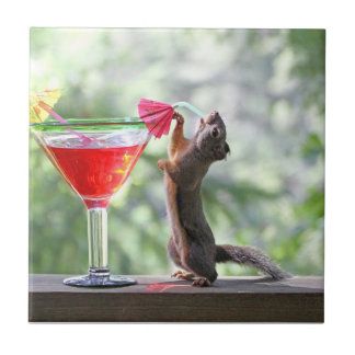 Squirrel Drinking a Cocktail at Happy Hour Tile